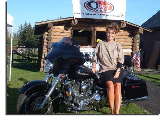 Sarah Palin on A Harley Davidson Motorcycle